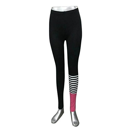HARRYSTORE Mujer Pantalones elásticos de yoga Señora costura y rayas pantalones Pantalones deportivos mujer Leggings pants Polainas Rosa caliente