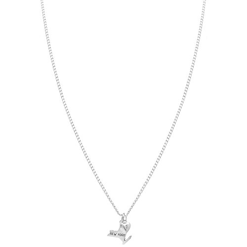 100% Nickel Free State Of Love, New York, Minimalist, Delicate Jewelry, Made in USA!, New York in Silver Tone (New York State Necklace compare prices)