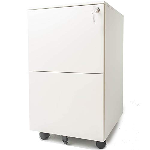 Pemberly Row 15.4'' Wide 2 Drawer Metal Mobile File Cabinet with Lockable Drawers and Wheels in White, Letter/Legal Size by Pemberly Row