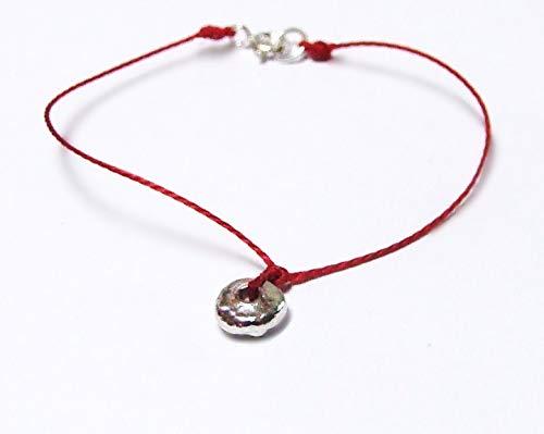 Pure Fine Silver Shibui Molten Silver Droplet Bracelet on Cord, Wabi Sabi Chic, Sterling Clasp