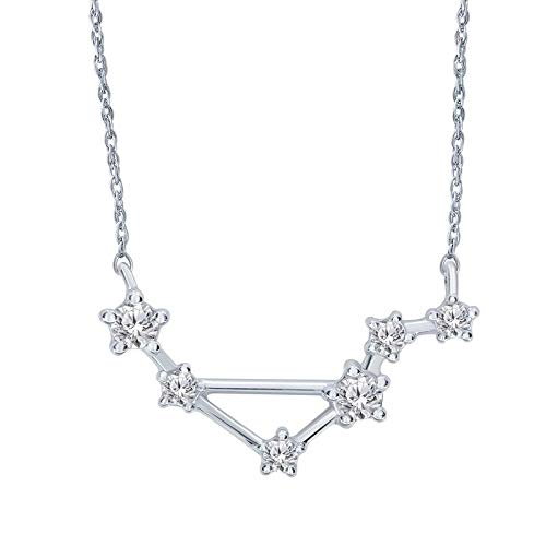 Triss Jewelry 1/5 Cttw Diamond Libra Zodiac Sign Pendant Necklace For Women in Sterling Silver