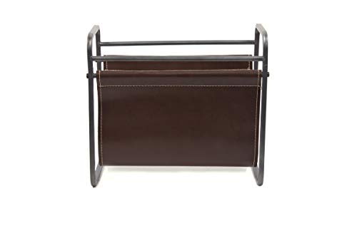 Newspaper Holder - Desktop Leather Magazine Holder - Free Standing Floor, Desk and Table Top Storage and Display Stand - Books, Newspapers, Files, Folders - Decorative Design for Home or Office - by Designstyles