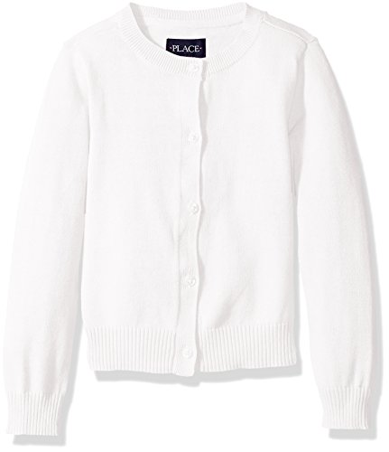 The Children's Place Baby Toddler Girls' Uniform Cardigan Sweater, White, 5T