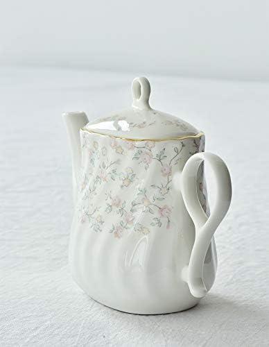 12 cm 900 ml weiqiang Tetera de Porcelana de Hueso n/órdico Juego de t/é de Tarde ingl/és Tetera 9