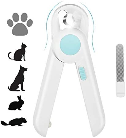 Yoobure Cat Dog Nail Clippers and Trimmer, Pet Nail Clippers with LED Light to Avoid Over-Cutting, Hidden Nail File & Razor Sharp Blade, Professional Grooming Tools Kit for Small Animals Claw Care