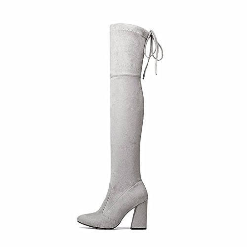 suede boots boots boots Light Winter grey thick high and elastic knee with q1x7fw6