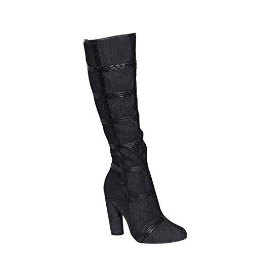 CAPE ROBBIN FG53 Women's Strappy Knee High Chunky Heel Dr...