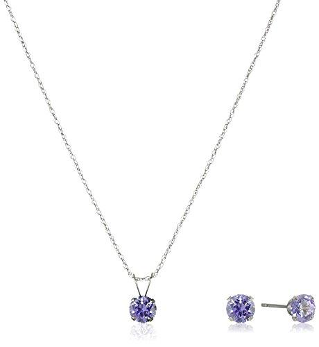 10k-White-Gold-Round-Lavender-Swarovski-Zirconia-Pendant-Necklace-and-Earrings-Jewelry-Set-18