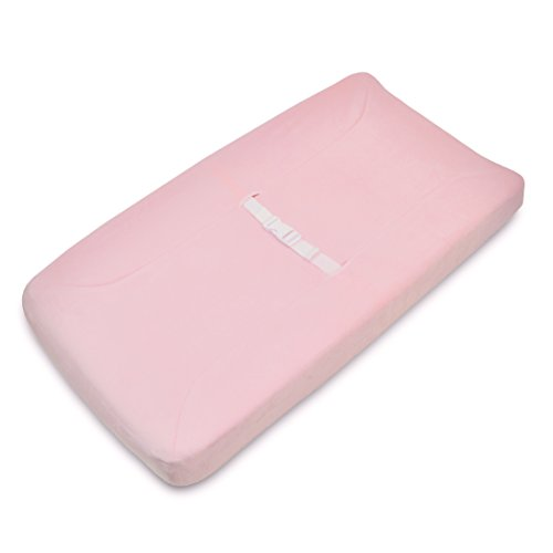 American Baby Company Heavenly Soft Chenille Fitted Contoured Changing Pad Cover, Pink - Chenille Contoured Changing Table Cover