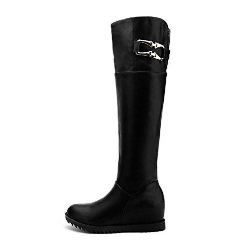 Allhqfashion Women's Round Closed Toe Kitten-Heels Soft Material High-top Solid Boots Black uz97Ajk