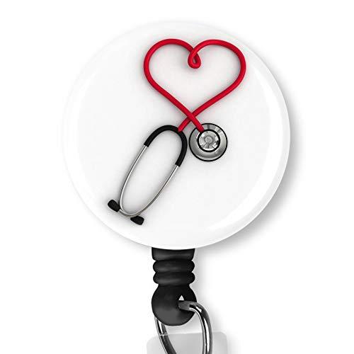 Heart Disease Nurse Badge ID Card Name Tag Custom Badge Holder Nurse Decorative Badge Reel Clip on Card Holders Badge Clip ()