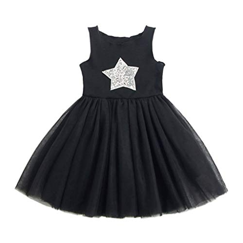 (Dresses for Girls,POTO Toddler Kids Baby Girl Sleeveless Star Sequins Princess Lace Dress Summer Party Dress Sundress Black)