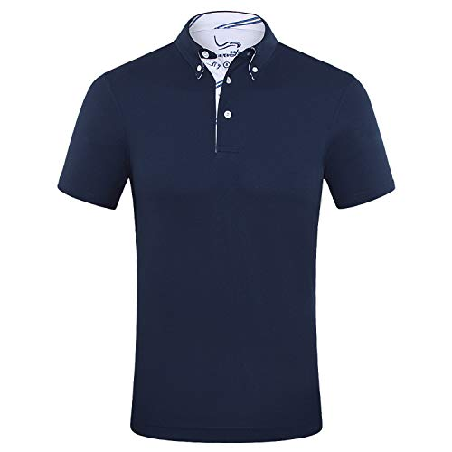 EAGEGOF Men's Shirts Navy Short Sleeve Tech Performance Golf Polo Shirt Loose Fit Large