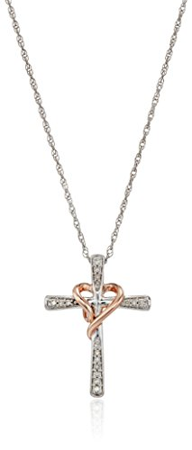 14K Rose Gold Over Sterling Silver Diamond Heart Cross Pendant Necklace  18   1 10Cttw