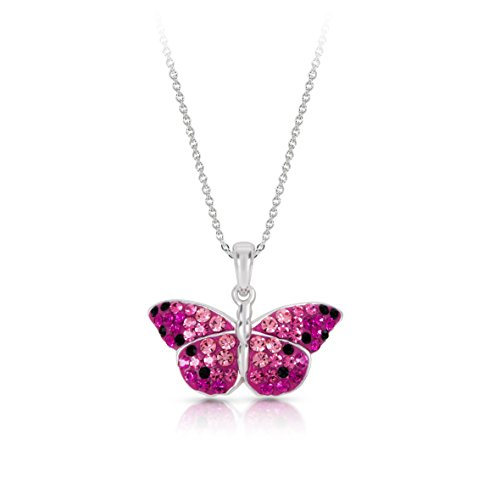 Cheerful Pink Crystal Monarch Butterfly Pendant Necklace for Women & Girls, Never Rust 925 Sterling Silver, Natural & Hypoallergenic Chain with Free Breathtaking Gift Box for a Special Moment of Love -