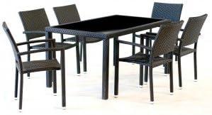 Muebles de jardín en resina para 6 personas-Mesa rectangular 150 ...