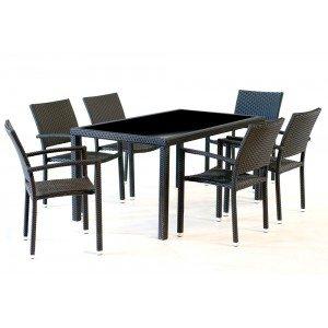 Salon de jardin en résine pour 6 personnes - table rectangulaire 150 ...