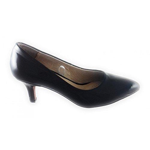 para Punta Tacón Zapatos de Cerrada Mujer Navy Blue De con Lotus Clio Rq1XTn0wT