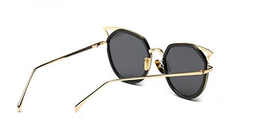 sol frame GLSYJ de de mujer reflectante gafas gray color sheet sol caja de película Gold de gafas de gafas retro ear Cat moda redonda LSHGYJ Bq6A6