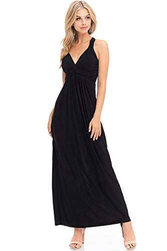 (BellaTi Solid Racer Back Maxi Dress with Bra Cups (S), Black (Solid))