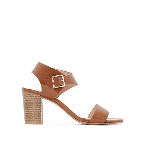 La Redoute Collections Womens Patent Leather Sandals Camel