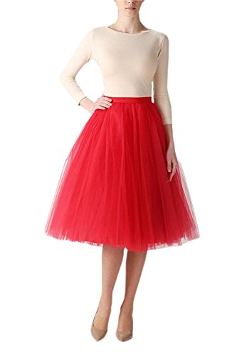 Belle House Women's Red Tutu A line Skirts Short Prom Petticoat Dress 2018 by Belle House