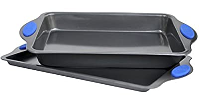 Set Of Baking Pans - Large Roaster & Cookie Sheet Non Stick Carbon Steel Metal With Blue Silicon Handles