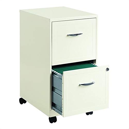 - Hirsh SOHO 2 Drawer Mobile Metal File Cabinet in White