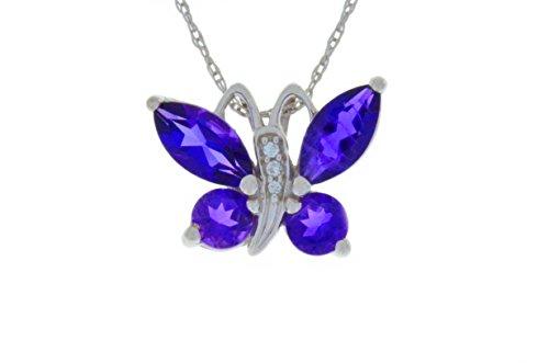 Sterling Silver Amethyst Butterfly Pendant - 6