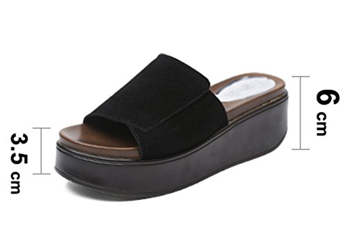 Bottom ZCJB Muffin Moda 25 Sandalias UK8 Zapatillas 5cm Gruesa Color De EU42 Verano Outer Plataforma Alto Impermeable L Tamaño Mujer Tacón De Suela Wear Negro rqzwf8r