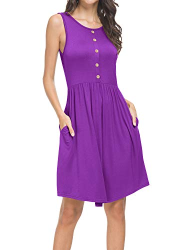 Women Sleeveless Pockets Casual Swing A line Summer T Shirt Sundress Purple M
