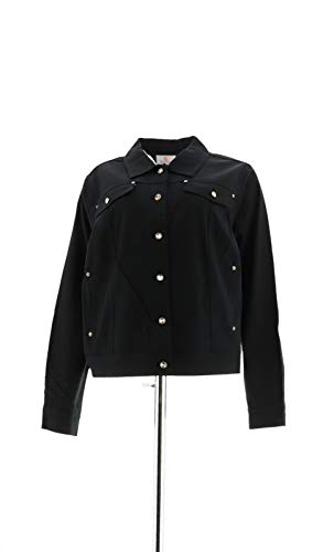 Quacker Factory Cropped Woven Jacket Rhinestone Black for sale  Delivered anywhere in USA