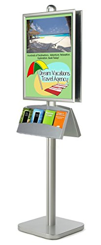 22x28 Poster Sign Stand and Literature Holder, Double Sided, Quick Snap Frame (Silver Aluminum) by Displays2go