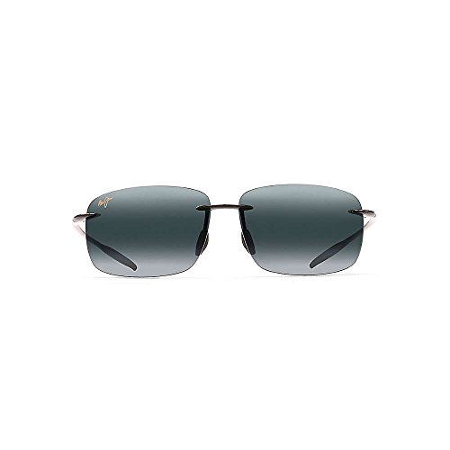 Maui Jim Mens Breakwall Sunglasses (422) Black Shiny/Grey Plastic,Acetate - Polarized - - Maui Jim Sunglass Hut