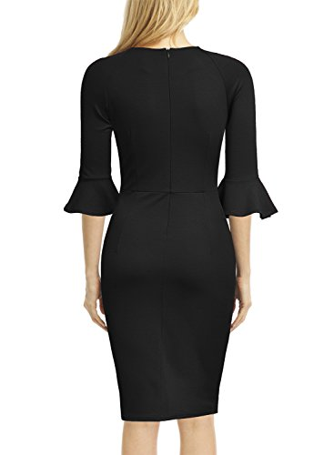 WOOSUNZE Womens Flounce Bell Sleeve Office Work Casual Pencil Dress (Black, Large)