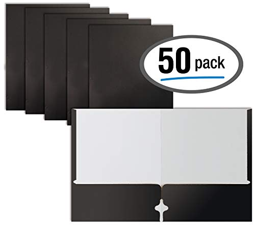 (Two Pocket Portfolio Folders, 50-Pack, Black, Letter Size Paper Folders, by Better Office Products, 50 Pieces,)