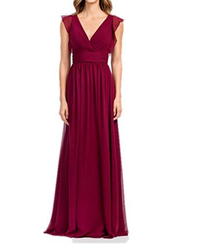 Elegant Brautjungfernkleider Braut Linie Chiffon Ausschnitt A Abendkleider mia V La Rock Weinrot Lang Partykleider t7BnT5xw0w