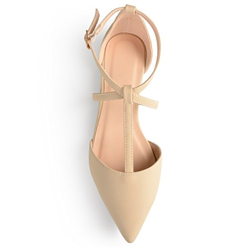 Journee Collectie Womens Spitse Teen Enkel Wrap T-strap Dorsay Flats Nude