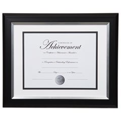 "Dax 2-Tone Silver Document Frame - 16.80"" x 14.90"" x 1"" Frame Size - Holds 11"" x 14"" Insert - Rectangle - Wall Mountable - Vertical, Horizontal - 1 Each - Bronze - Silver, Black"