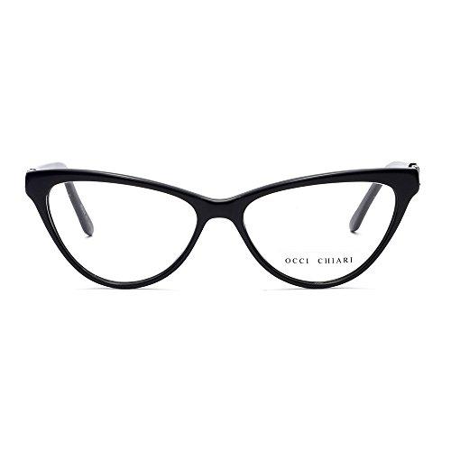 Eyeglasses With Clear Lenses OCCI CHIARI Fashion ALOE Acetate Frame (Black, - Prescription Cateye Eyeglasses
