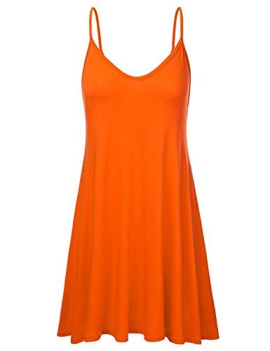 NINEXIS Women's Basic Spaghetti Strap Cami Tank Tunic Dress Orange 3XL (Plus Size Orange Dress)