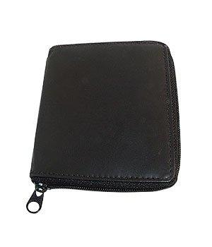 Mens Zipper Hipster Credit Card Holder Black Wallet