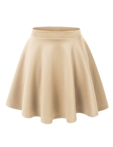 MBJ WB211 Womens Basic Versatile Stretchy Flared Skater Skirt M Khaki