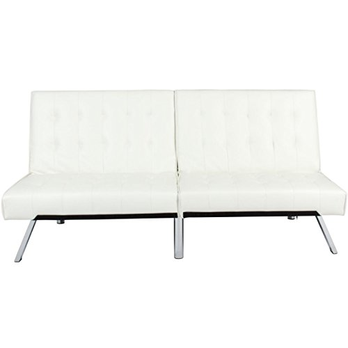 White Convertible Leather Futon Sofa Bed Couch Split Backrest Recliner Lounger Sleeper Home Living Room Bedroom Apartment Studio Modern Space Saving Furniture Décor Fold Up And Down - Norman In Stores Ok