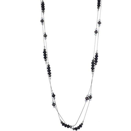 Lux Accessories SilverTone Black Beaded Station Break Double Row Long - Black Station Bracelet Pearl