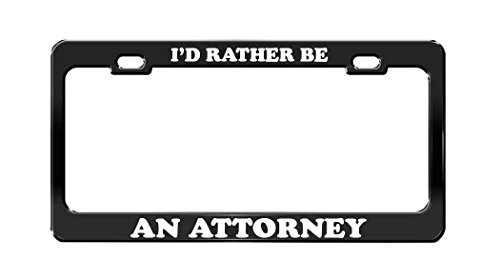 Top trend Envelope ' RATHER ATTORNEY Job Occupation Black Metal License Plate Frame Tag