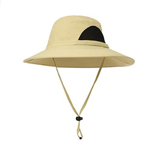 Display Trooper Flag Case (YQZB Sun Hat for Men Women Outdoor UV Protection Mesh Bucket Boonie Hats Wide Brim Adjustable Fishing Cap Khaki)