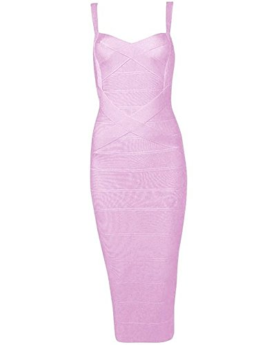 Whoinshop Women's Rayon Strap Celebrity Midi Evening Party Bandage Dress Pink - Sweet Dress Pink