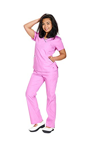 Mini Mock Wrap Scrub Top - Reina Scrubs 403 MINI WRAP TOP W/NOVELTY KNIT TAPE (M Petite, Sweet Orchid)