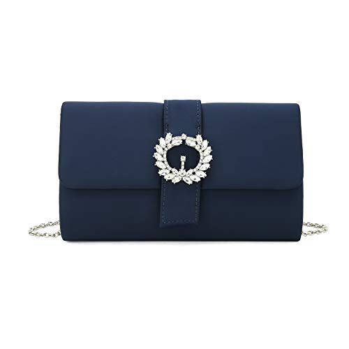 Charming Tailor Evening Bag Diamantes Embellished Satin Clutch Purse for Woman Classy Party Handbag with Beaded Brooch (Navy)